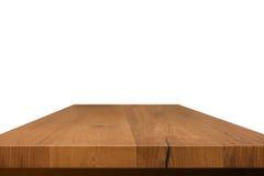 Пустое верхнее деревянного стола изолированное на белой предпосылке, используемой для дисплея или монтажа ваши продукты Стоковое Изображение RF