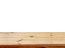 Пустое верхнее деревянного стола изолированное на белой предпосылке, используемой для дисплея или монтажа ваши продукты Стоковое фото RF