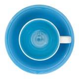 Пустое взгляд сверху чашки и поддонника изолированное на белизне Стоковая Фотография