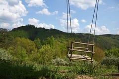 Пустое деревянное качание веревочки в природе Стоковые Фото