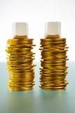пустое золото монеток блока над 2 Стоковое Фото