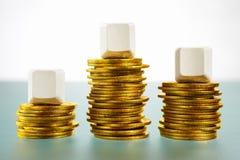 пустое золото монеток блока над 3 Стоковая Фотография RF