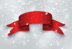 Пустое красное реалистическое изогнутое бумажное знамя с снегом и сосульки изолированные на прозрачной предпосылке также вектор и иллюстрация штока