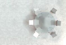 Пустое место для работы на стеклянной таблице ПЛАНА Взгляд сверху Высокое разрешение представляет владение домашнего ключа принци Стоковое фото RF