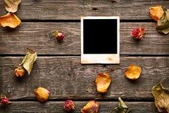 Пустое немедленное фото с розами и лепестками Стоковые Изображения