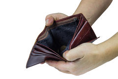 Пустое портмоне в его руках Стоковая Фотография RF