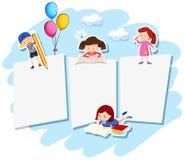 Пустое примечание с детьми иллюстрация вектора
