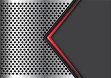 Пустое пространство абстрактной красной стрелки серое на векторе предпосылки серебряного дизайна сетки круга современном роскошно Стоковое фото RF