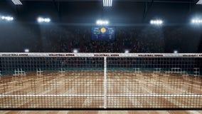 Пустое профессиональное волейбольное поле в светах стоковое фото rf