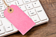 Пустое розовое цена ярлыка или бирки Стоковая Фотография