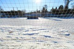 Пустое снежное поле soccerball Стоковое фото RF