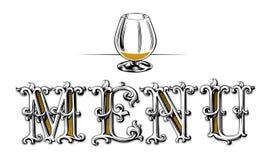 пустое стеклянное вино меню иллюстрация вектора