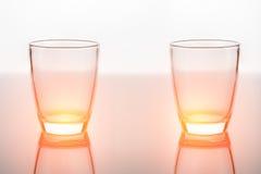 Пустое стекло для воды, сока или молока на белой предпосылке сером fl Стоковые Фото