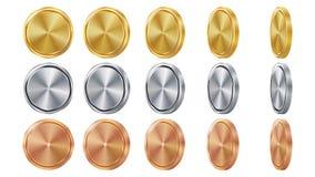 Пустое 3D золото, серебр, бронзовые монетки Vector пустой комплект Реалистический шаблон Углы сальто различные Вклад, сеть, игра иллюстрация вектора