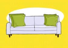 Пустое Loveseat над желтым цветом иллюстрация штока