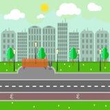 Пустой ландшафт и дорога городка на улице vector иллюстрация Стоковые Фото