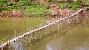 пустой бамбуковый мост, prabang luang, Лаос Стоковые Изображения RF