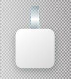 Пустой белый вид wobbler на насмешке стены вверх, перевод 3d Разметьте вокруг бумажного модель-макета на пластичной прозрачной пр иллюстрация вектора