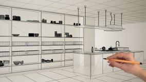 Пустой белый интерьер с белыми мраморными керамическими плитками, рука рисуя изготовленный на заказ дизайн архитектуры, эскиз изл иллюстрация вектора