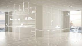 Пустой белый интерьер с белым полом керамических плиток, изготовленный на заказ дизайн-проект архитектуры, белый эскиз чернил, по иллюстрация вектора