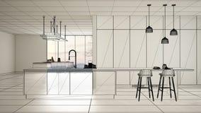Пустой белый интерьер с белым полом керамических плиток, изготовленный на заказ дизайн-проект архитектуры, эскиз излишка бюджетны иллюстрация вектора