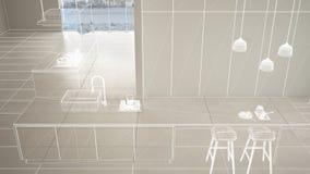 Пустой белый интерьер с белым полом керамических плиток, изготовленный на заказ дизайн-проект архитектуры, белый эскиз чернил, по бесплатная иллюстрация