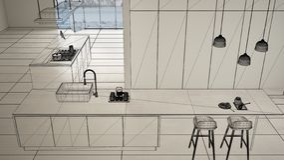 Пустой белый интерьер с белым полом керамических плиток, изготовленный на заказ дизайн-проект архитектуры, эскиз излишка бюджетны бесплатная иллюстрация