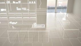 Пустой белый интерьер с белым полом керамических плиток, изготовленный на заказ дизайн-проект архитектуры, белый эскиз чернил, по стоковые фото