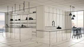 Пустой белый интерьер с белым полом керамических плиток, изготовленный на заказ дизайн-проект архитектуры, эскиз излишка бюджетны стоковое фото rf
