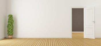 Пустой белый интерьер с дверью иллюстрация штока