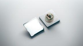 Пустой белый модель-макет штыря отворотом, фронт и задний взгляд со стороны бесплатная иллюстрация