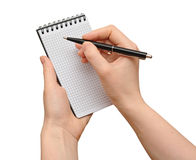 пустой блокнот человека руки Стоковое Изображение RF