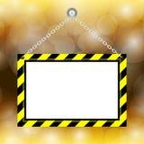 Пустой вися предупредительный знак на предпосылке золота bokeh, рамке ярлыка смертной казни через повешение шаблона для космоса э иллюстрация вектора