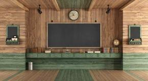 Пустой деревянный класс в ретро стиле бесплатная иллюстрация