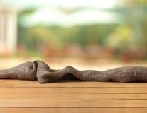 Пустой деревянный стол, деревянные планки, предпосылка Стоковые Изображения RF