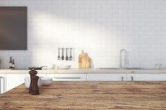 Пустой деревянный счетчик кухни иллюстрация штока