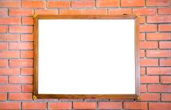 Пустой деревянный знак на кирпичной стене Стоковое Фото