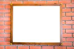 Пустой деревянный знак на кирпичной стене Стоковое Изображение RF