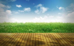 Пустой деревянный пол для монтажей дисплея Стоковая Фотография