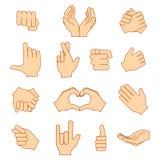 Пустой держать рук защищает давать установленные значки жестов изолированными на белизне Стоковое фото RF