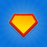Пустой значок логотипа супергероя на голубой предпосылке вектор Стоковые Изображения