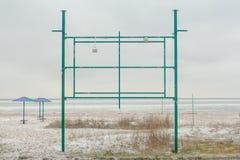 Пустой дизайн рекламы на пляже зимы Стоковые Фотографии RF