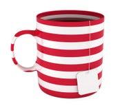 пустой изолированный чашкой чай striped ярлыком Стоковое Фото