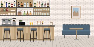Пустой интерьер бара кафа с деревянной стойкой, стульями и оборудованием Стоковое Изображение RF