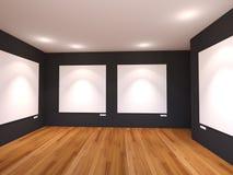 Пустой интерьер комнаты с белым холстом на черной стене в Галле Стоковое Изображение RF