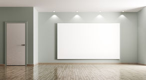Пустой интерьер комнаты с большим переводом плаката и двери 3d Стоковые Изображения