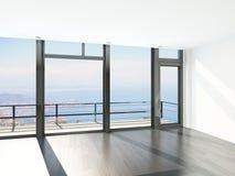 Пустой интерьер комнаты с полом к окнам потолка и сценарному взгляду Стоковое фото RF