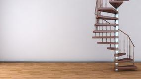 Пустой интерьер с винтовой лестницей Стоковые Фотографии RF