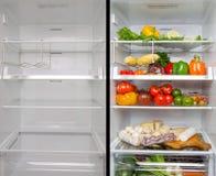 Пустой и полный холодильник Стоковое Изображение