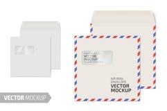 Пустой квадратный конверт с окном на белизне стоковые изображения rf